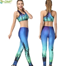 Aurora Trees Landscape Forest Nature Sports Set Fitness Running 2 Pieces Set Northern Lights Gym Bras Pants Women Yoga Suit(China)