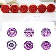 6pcs/SET Assorted Retro Vintage Floral Flower Pattern Round Wooden Rubber Stamp Scrapbook DIY