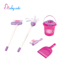 Children Pretend Play Toy Pink Simulation House Cleaning Tool Kit Mop Broom Cleaning Bucket Early Educational Toy Girls Gift