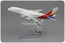 (5pcs/lot) Wholesale Brand New Airbus Model Toys Asiana Airlines Inc Airbus A380 16cm Length Diecast Metal Plane Model Toy