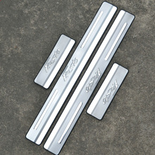 Car styling Stainless Steel Car Door Sill Scuff Plate Guard Sills For Ford Fiesta 2009-2014(China)