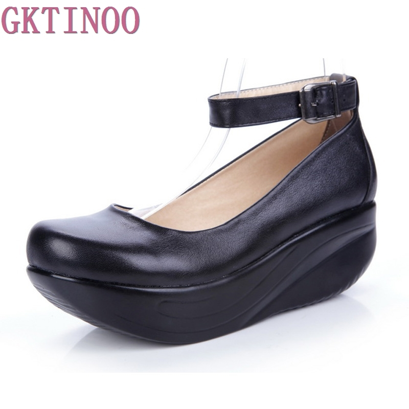 New Womens Genuine Leather Platform Shoes Wedges Black Lady Casual Shoes Swing High Heels shoe Plus Size 34-43<br>
