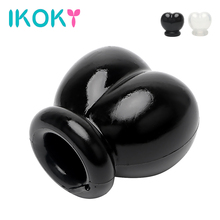 Buy IKOKY Sex Toys Men Cock Ring Time Scrotum Bondage Restraint Ball Stretcher Chastity Cage Penis Rings Time Delay Ejaculation
