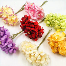 Hot sale 6pieces 5cm Artificial flowers silk Plum highland flower for DIY Scrapbooking wreath wedding decoration fake flowers(China)
