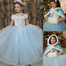 2017 New Fashion Girls  Dress Snowflake Party Dress Princess Dress +Hat Shawl Kids Children Clothes BA175