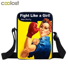 Funny Cartoon Fight like A Girl Messenger Bag Women Crossbody Shoulder Bag Girls Satchel Small Handbag Mini Bags For Teenager