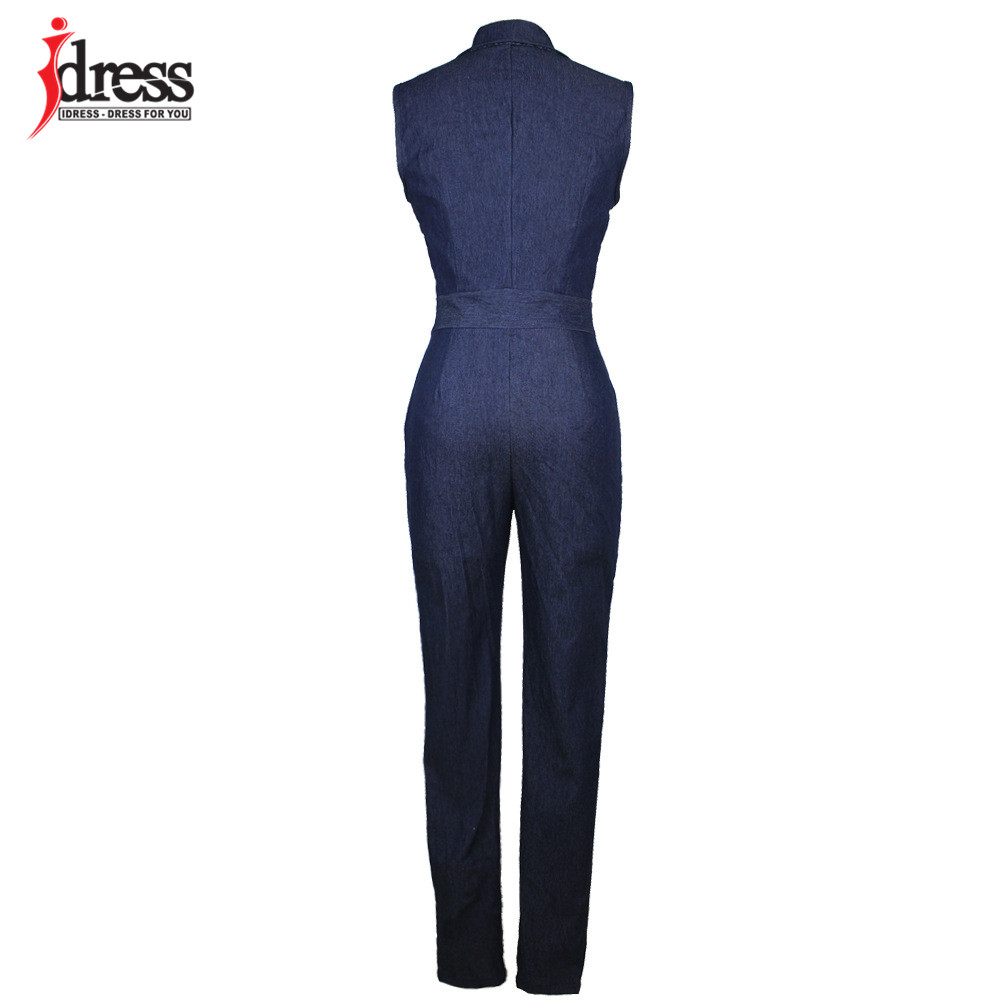 IDress Women Jeans Jumpsuit Denim Long Pants Sexy Deep V Neck Slim Overalls Jumpsuit Girl Sleeveless Club Wear Bodysuit Romper (4)