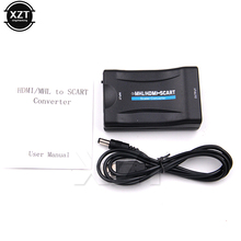 PZ Newest Hot 1080P HDMI to SCART Video Audio Upscale Converter AV Signal Adapter HD Receiver for HDTV DVD Player