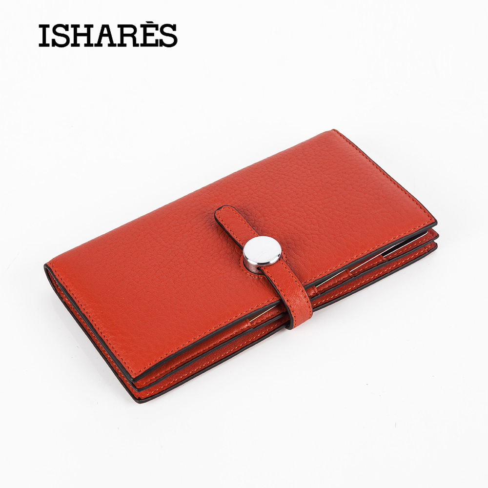 ISHARES new style genuine leather  women fold  long wallets female soft  cow leather high qualtiy calf skin purse  ISIS8253<br>