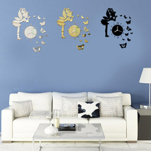 Beautiful Fairy Butterfly Wall Clock 3D DIY Frameless Sticker Adhesive Wall Clock Living Room Decoration Clock