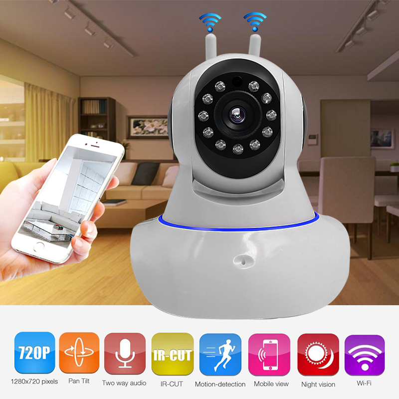 Howell HD 720P Wireless IP Camera with Two Antenna Night Vision Pan/Tilt/Zoom Baby Monitor Surveillance 720P 1.0MP Wifi Camera <br>