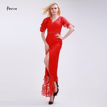 Finove Bright Red Bridesmaid Dresses Elegant Rose Pattern Lace Dress 2017 New Sexy Slit to the Thigh Ankle-Length Beading Dress
