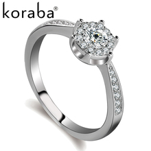 koraba High Quality 10 Styel AAA Cubic Zirconia 925 Sterling Silver Jewelry Classic Engagement Wedding Ring For Women Gift(China)