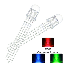 10Pcs/Lot 5mm 4Pins Red Green Blue RGB LED Common Cathode Tricolor Emitting Lights Diodes Round Water Clear Lamp