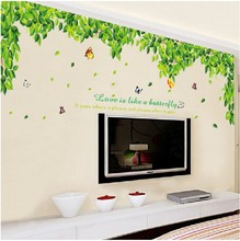 Green Leaves TV Setting Wall Room Sitting Room Sofa Decor Wall Stickers Wind Stick Leaf Depths DIY Home Decor