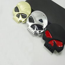 Car Sticker Decoration Motorcycle Sticker 3D Cool Metal Skull Sticker Motorcycle Truck Emblem(China)