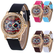Genvivia Animal Printing wristwatch Simple Pattern Fashion Diamond Quartz Leather Jewelry & Watches relogio feminino