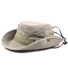 Adult Men's Hat Summer Western Style Retro Cotton Bucket Hats Adjustable Size Mesh Ventilation Tourism Novelty Daddy's Sun Hat
