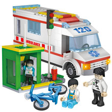 COGO 4124 City Hospital Ambulance Block Bicycle phone booth Kid Toy Enlighten Educational Building Blocks Children Toys Gift(China)