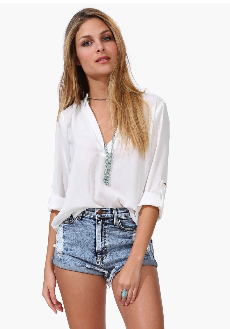 AQ60 European Style Ladies V-neck Chiffon Shirts All-match Long Sleeve Sheer Summer White Blue Chiffon Blouses Shirt Tops