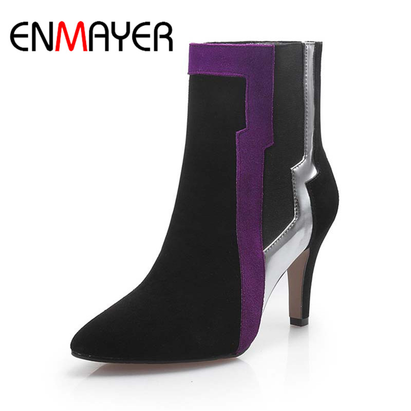 ENMAYER Mixed Colors Pointed Toe Fashion Boots Thin Heels High Ankle Boots New Cow Split Shoes Women Blue Purple Sexy High Boots<br><br>Aliexpress