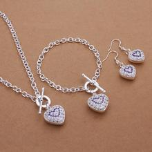 Free shipping S372 Wholesale Silver Jewelry Set Necklace+Bracelet+Earrings Fashion Crystal Heart Charm Jewellery Set Pendent(China)