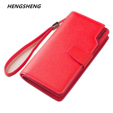 Free shipping new fashion women wallet leather brand wallets women wholesale lady purse High capacity clutch bag for women gift(China)