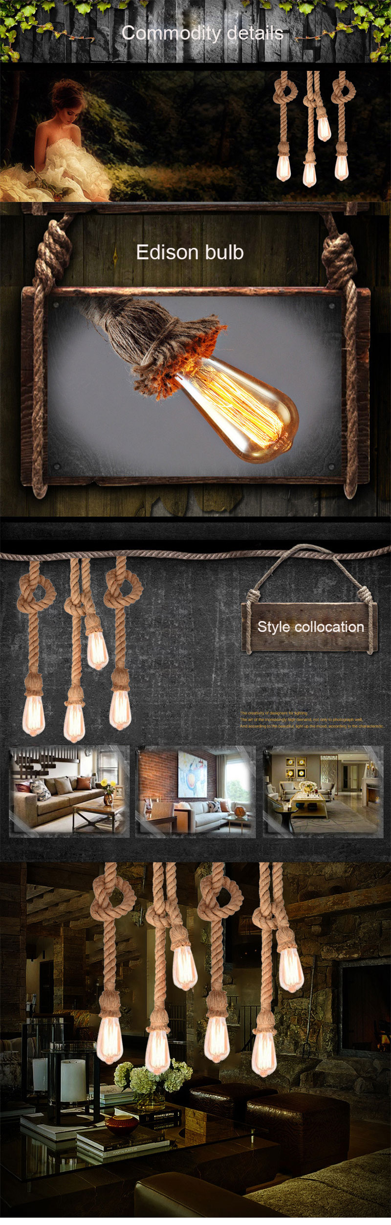 Vintage Rope Pendant Light Loft Creative Personality Industrial Pendant Light Retro American Style Lamp Home Decor Dining Room