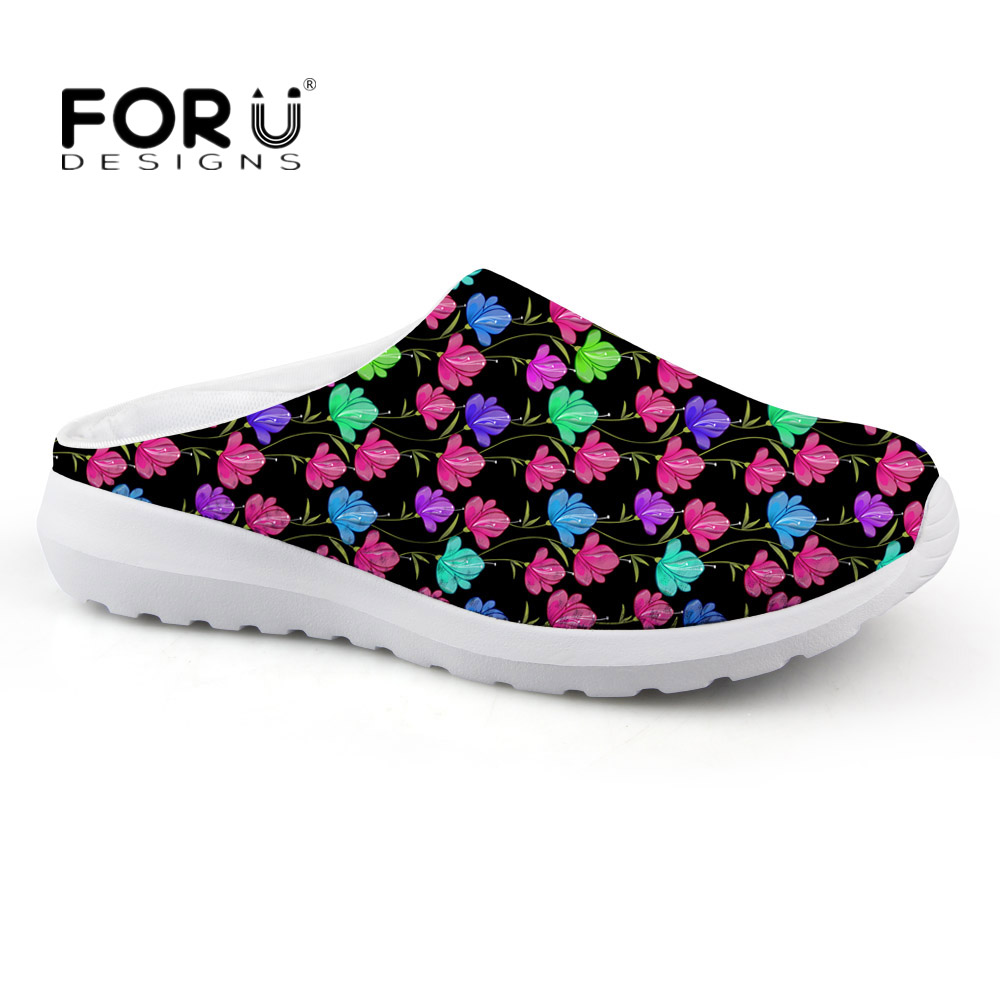 FORUDESIGNS Summer Women Floral Design Sandals Fashion Womens Slip-on House Slippers Breathable Mesh Beach Water Shoes for Lady<br>