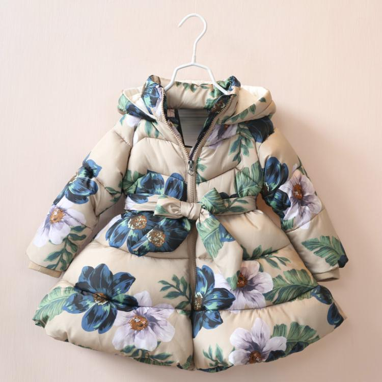 High quality Childrens Girls Winter Coat belt loose lower hem printing Hooded cotton-padded clothes 307255xmОдежда и ак�е��уары<br><br><br>Aliexpress