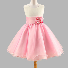 European And American Style Girls Dress 2017 Summer Rose Princess Dresses Kids Fashion Sleeveless Pink And Blue Dress vestidos