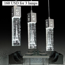 Modern Led bar counter lamp single crystal bubble column three head pendant light lighthouse column lights
