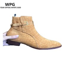 WPG Chelsea boots men brand designer New martin style slp Genuine Leather ankle boots men tan west Vintage boots male shoes