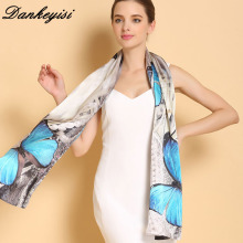 DANKEYISI Women Silk Scarf Shawl Spring Autumn Female Genuine Long Pure 100% Silk Scarf Women Printed Shawls Beach Cover-ups(China)
