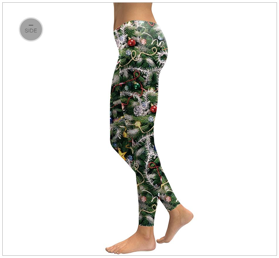 Christmas Tree Pattern, Printed High Elasticity Leggings, Women's Fashion Holiday Sexy Leggings 25