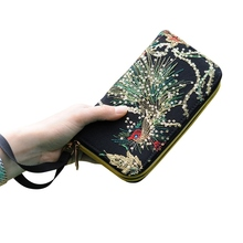 Luxury Wallet Women Embroidery Vintage Long Money Bag Coin Purse Business Faux Leather Wedding Evening Bags Card Holders(China)