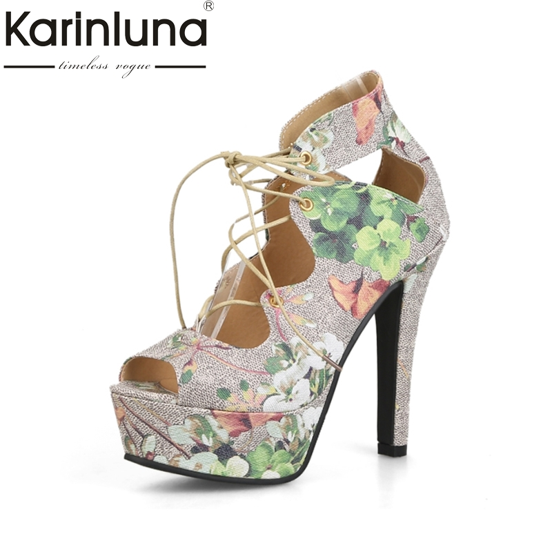 KARINLUNA Brand Big Size 33-43 Peep Toe Platform Women Shoes Sexy Super High Heels Princess Style Woman Sandals Flower Printing<br>
