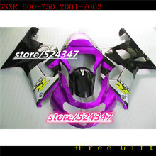 Hot sales GSXR600 750 02 03 01 movement fairing kit GSXR600 750 silver pink black bicycle cheap motorcycle at -Hey(China)