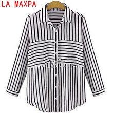 2017 High Quality Women Blouses Cotton Blouse Women Shirts Casual stripe Shirts Bat sleeve Shirts Loose Blusas Tops Plus Size