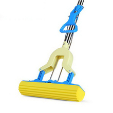341223/Fold Squeeze Water Sponge Mop, Stainless Steel Rod Rubber Can Stretch Cotton Absorbent Mop, Mops Floor Cleaning(China)