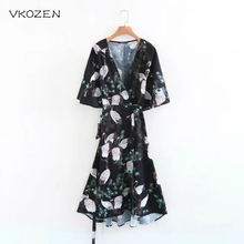 VKOZEN 2017 Summer Vestidos Fashion Women Mid Calf Cardigans Dress Casual Ladies Swan Print Sashes Dresses Robe Femme