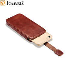 ICARER Vintage Mobile Phone Pouch Bag for IPhone 7 Plus 6 6S Plus Luxury Genuine Leather Push Out Holster Case for IPhone 6 6S 7