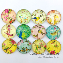 ZEROUP 12mm round photo glass cabochon mixed pattern fit cameo base setting for jewelry flatback 50pcs/lot TP-196-R