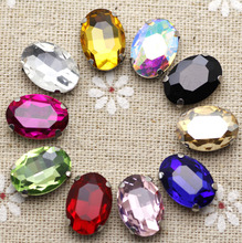 50pcs 10*14mm Crystal Mix Color Oval Sew On Rhinestone With Claw Setting Silver Back Fancy Stone With Metal Claw With Holes
