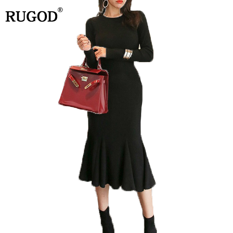 RUGOD 2018 New Arrival Long sleeve Knitted Women Sweater Dress O neck Female Sweater Dress Elegant Bodycon Slim Femme Robe Îäåæäà è àêñåññóàðû<br><br>