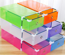 1 Piece Candy color Metal-edged Drawer Type Plastic storage box Storage Shoe Box Transparent Shoebox Shoe Box