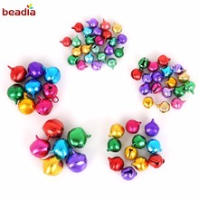 Multi Option 6/8/10/12/14mm 30-200pcs/bag Random Mixed Color Aluminum Jingle Bell For Christmas Decoration Charms Metal Pendant(China)