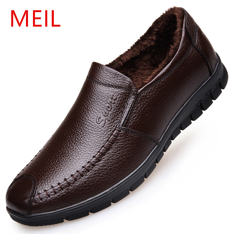 MEIL men winter loafers Genuine leather casual shoes driving shoes slip on male moccasins warm flats brown boots men<br>