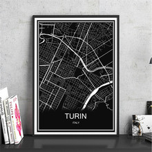 Italy TURIN Modern City poster Abstract print picture World map oil painting Canvas Coated paper Cafe bar Living Room Decor home