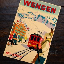 World Skiing Wengen Trains Propaganda Retro Vintage Kraft Poster Decorative DIY Wall Sticker Home Bar Posters Decoration